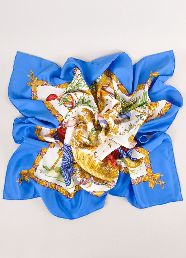 "Cream, Blue, and Multicolor Printed ""Republique Francaise 1789"" Silk Scarf"