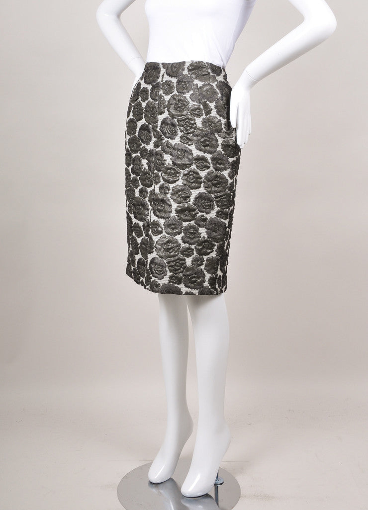 New With Tags Grey Metallic Floral Embroidered Pencil Skirt