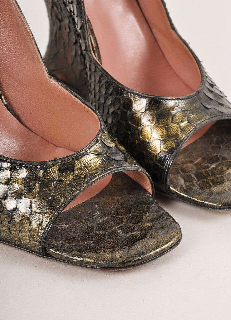 Brown, Black, and Olive Green Alaia Metallic Snakeskin Open Toe Wedges