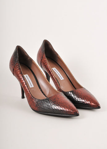 Tabitha Simmons Red and Black Ombre Glitter Snakeskin Pumps Frontview