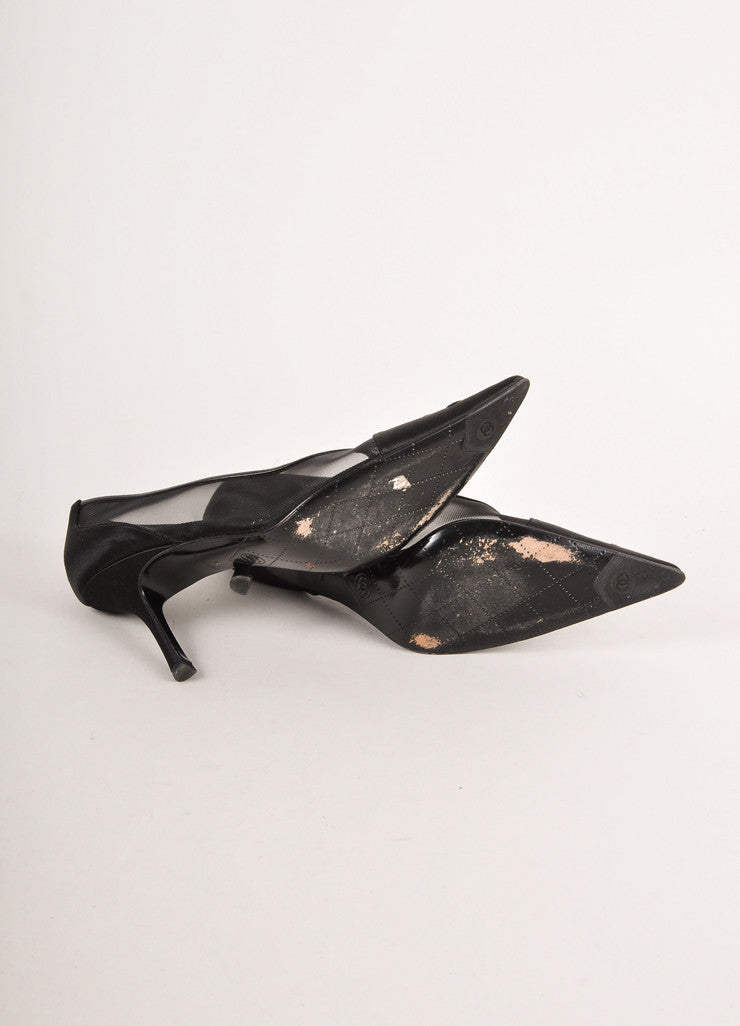 "Black Satin and Mesh ""CC"" Embroidered Pointed Toe Pumps"