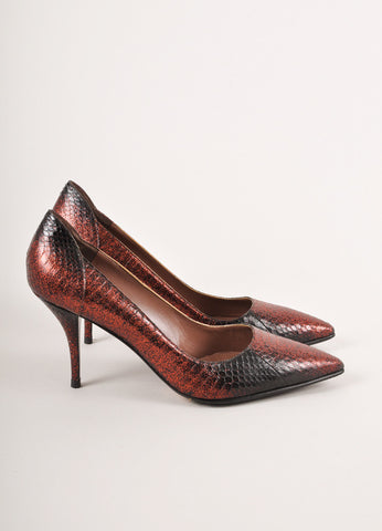 Tabitha Simmons Red and Black Ombre Glitter Snakeskin Pumps Sideview
