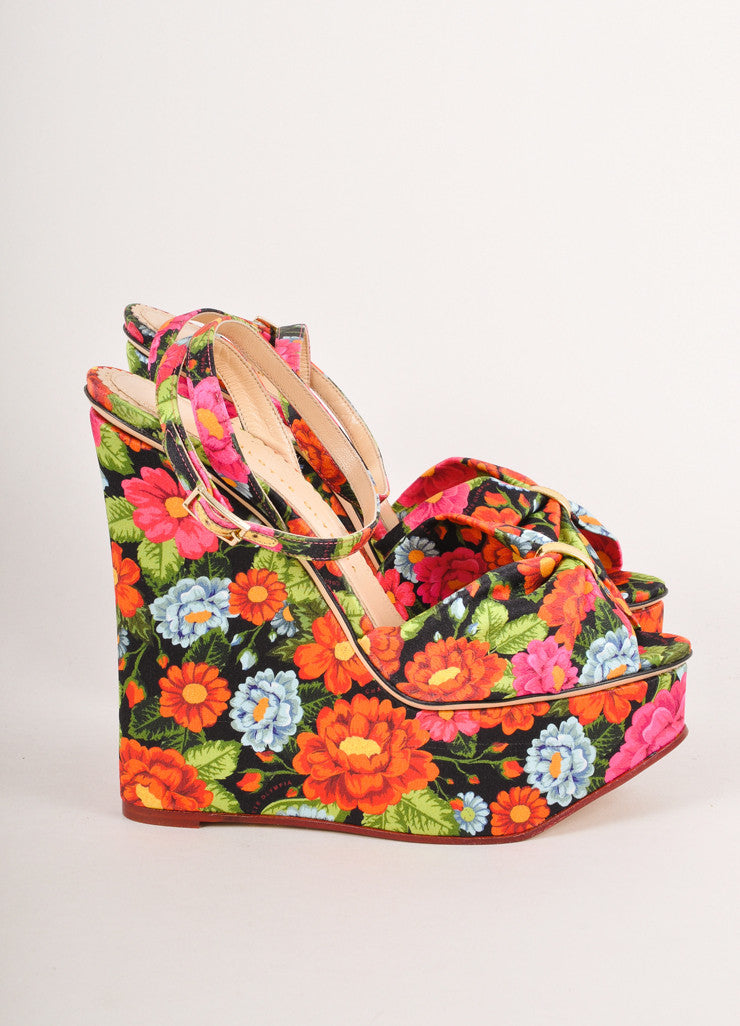 "Multicolor Charlotte Olympia Floral Print Wedge ""Melody"" Sandals"