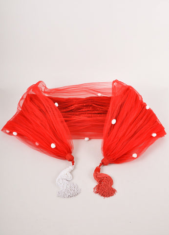 Red and White Pom Pom Crinkle Scarf
