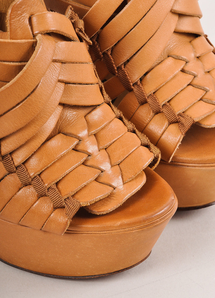 "Brown Strappy Leather ""Puzzle"" Platform Wedge"