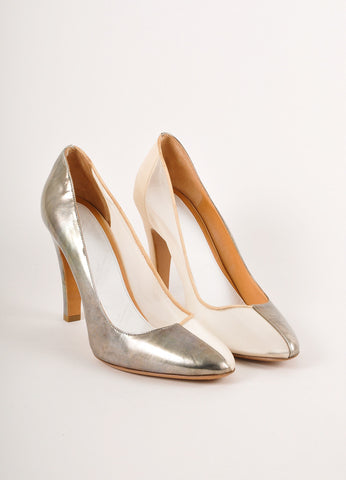 Maison Martin Margiela Dark Silver and Cream Leather Mesh Pumps Frontview
