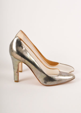 Maison Martin Margiela Dark Silver and Cream Leather Mesh Pumps Sideview