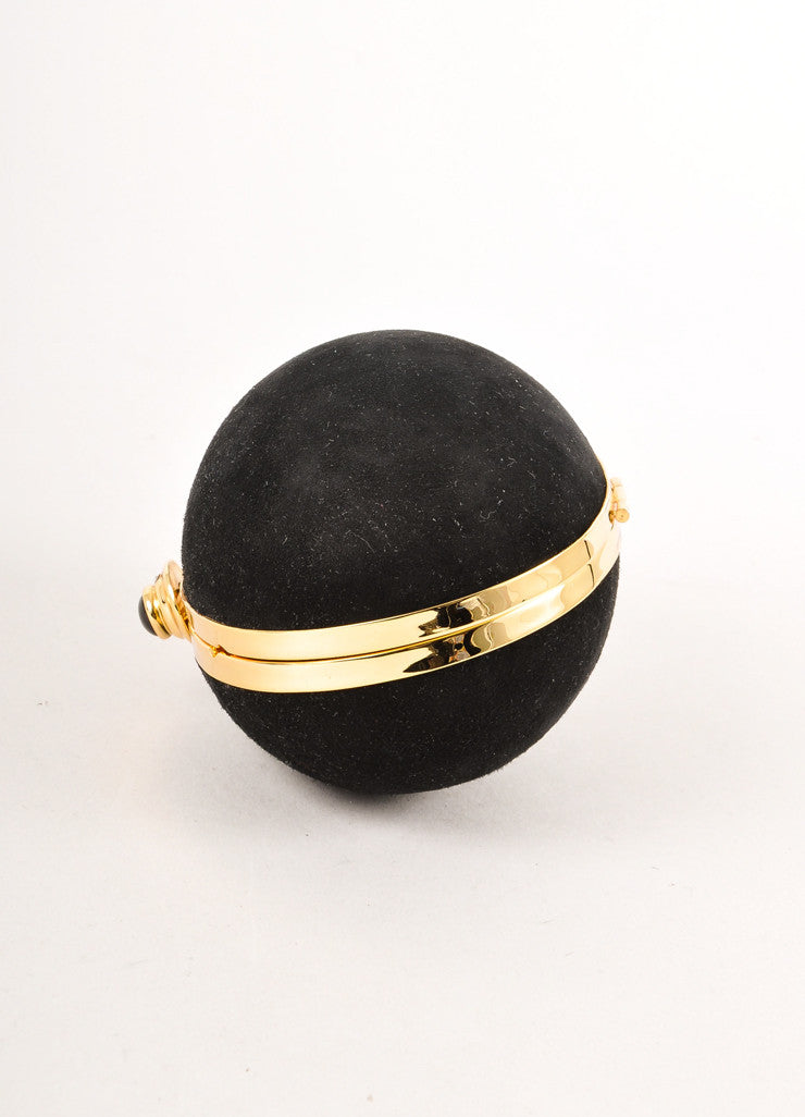 Black and Gold Toned Suede Leather Small Egg Shaped Clutch Bag
