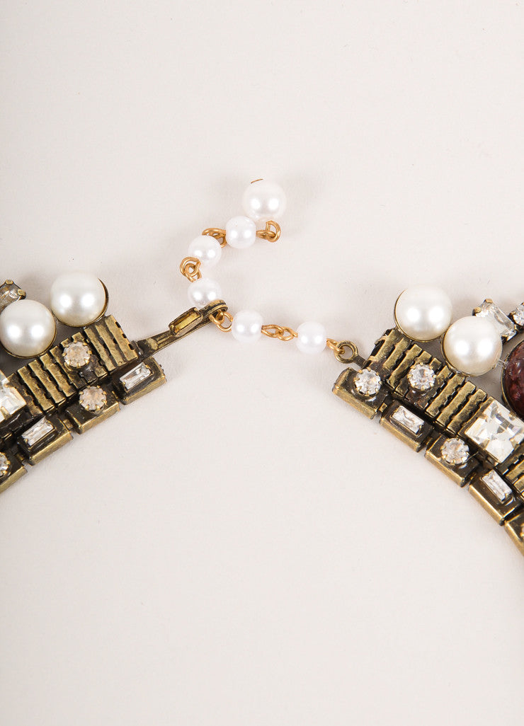 Lawrence Vrba Brass Toned, Cream, and Purple Rhinestone, Cabochon, and Faux Pearl Statement Collar Closure