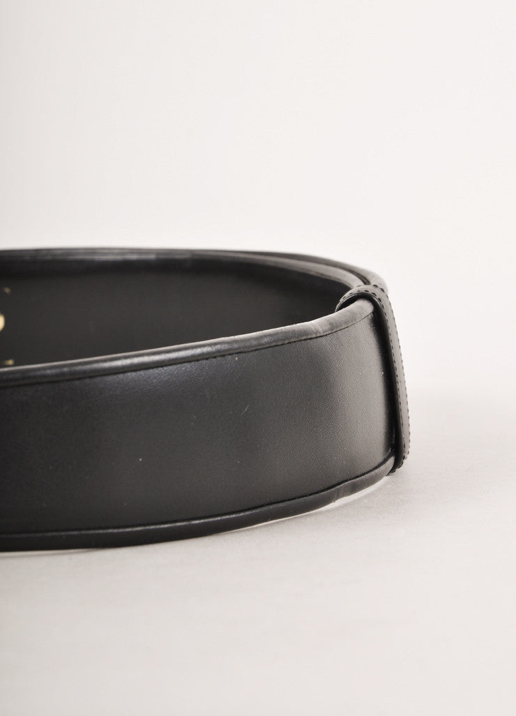 Black Leather Belt With Gold Toned and Rhinestone Closure