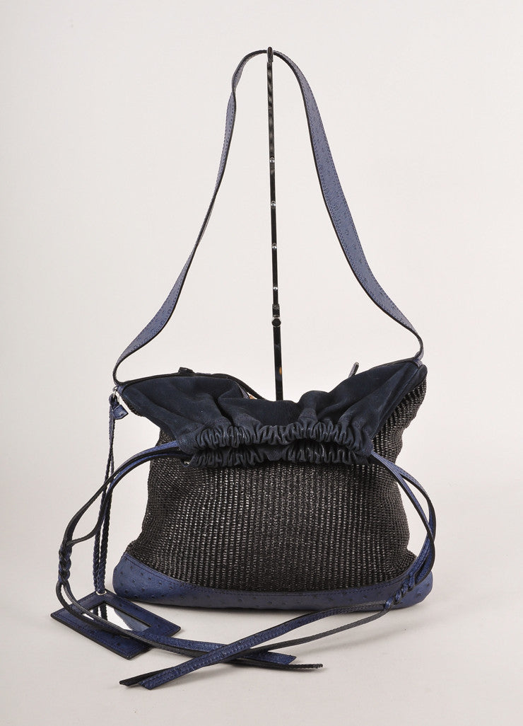 Navy Blue Woven Shoulder Bag With Leather Details