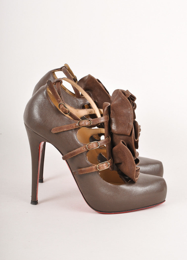Brown Leather Ruffle Pumps