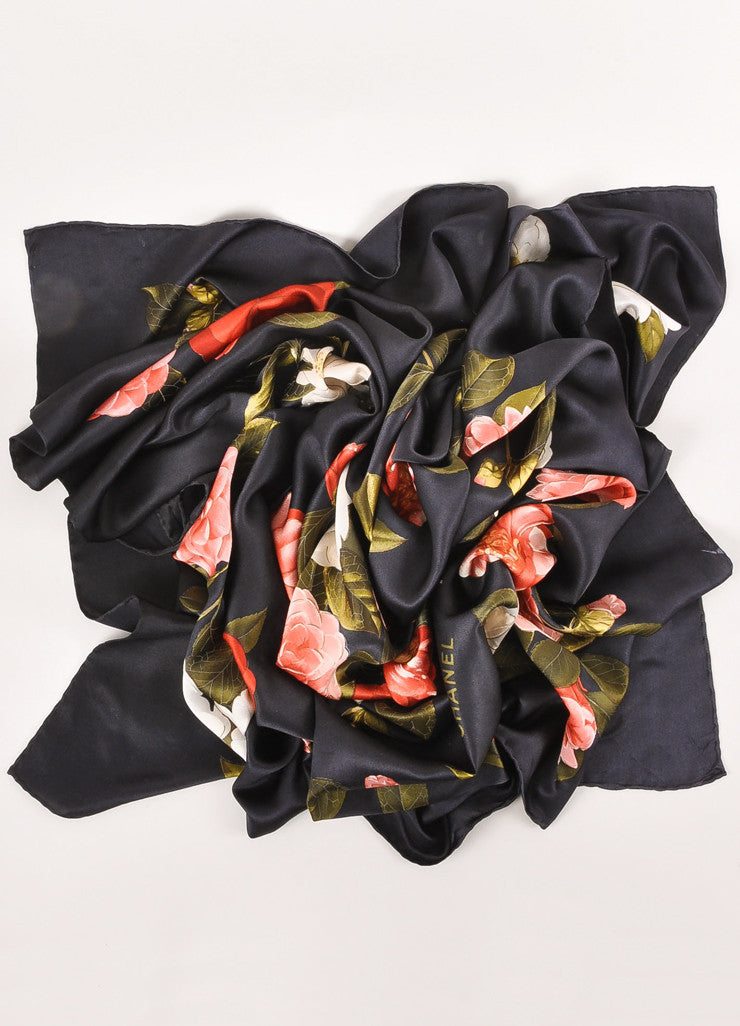 Black, Pink, and Green Floral Print Scarf