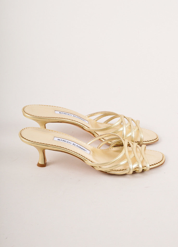 Gold Metallic Leather Slip On Sandal Heels