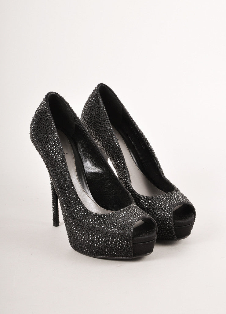 Black Swarovski Crystal Peep Toe Platform Pumps