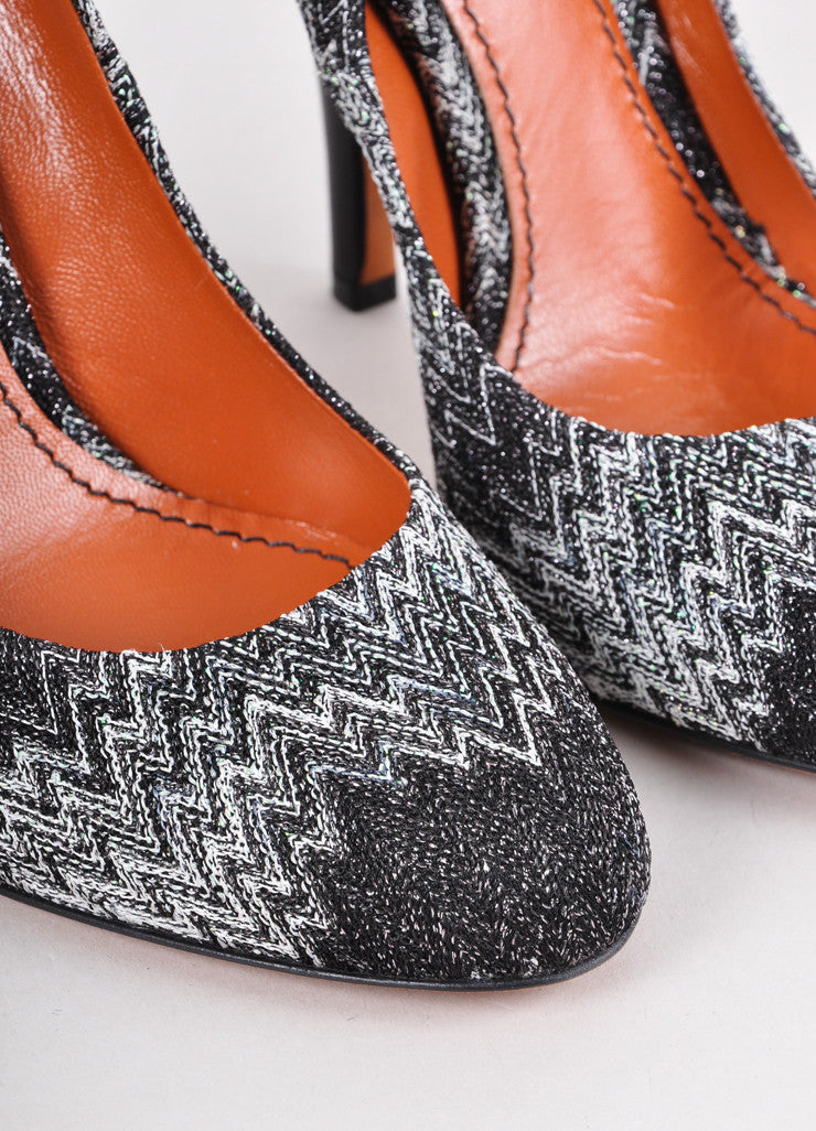 New Black and White Zig Zag Knit Pumps