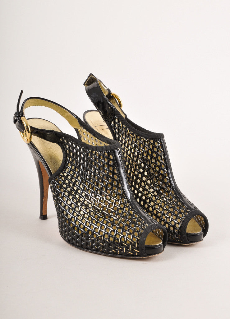 Black and Gold Giuseppe Zanotti Patent Leather Peep Toe Heels