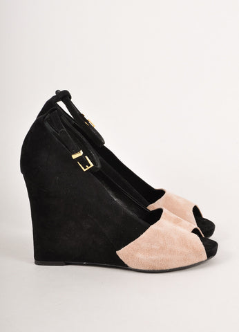 Black and Tan Colorblock Suede Peep Toe Wedge Heels