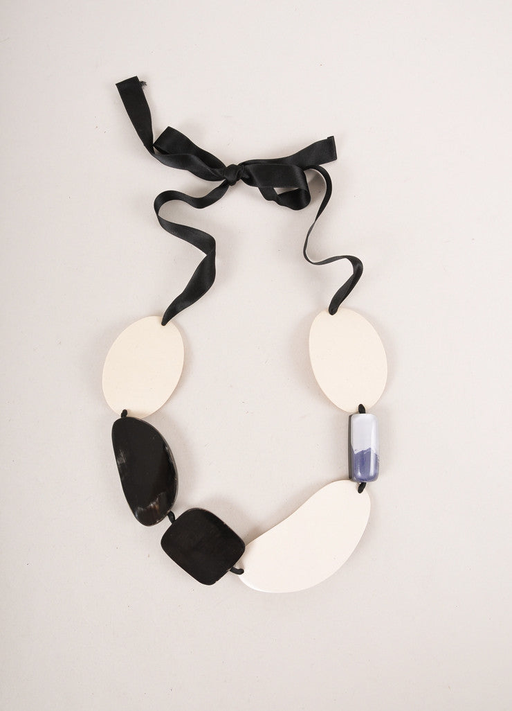 Black, Cream and Blue Ribbon Tie Chunky Beaded Statement Necklace