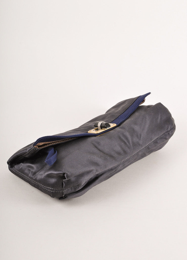 Grey and Navy Blue Satin Clutch Bag
