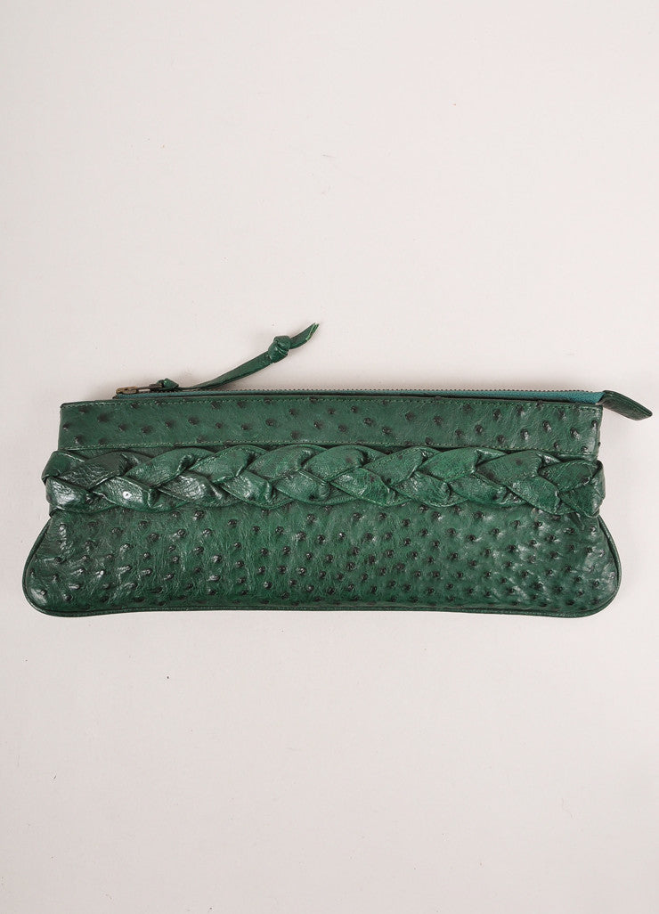 Green Ostrich Leather Braided Trim Long Clutch Bag