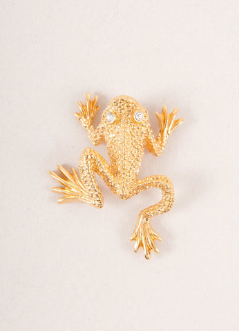 Gold Toned and Clear Rhinestone Detail Frog Pin Brooch