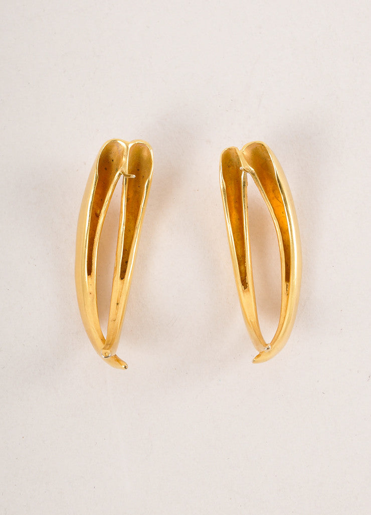 Vintage Gold Toned Talon Earrings Backview