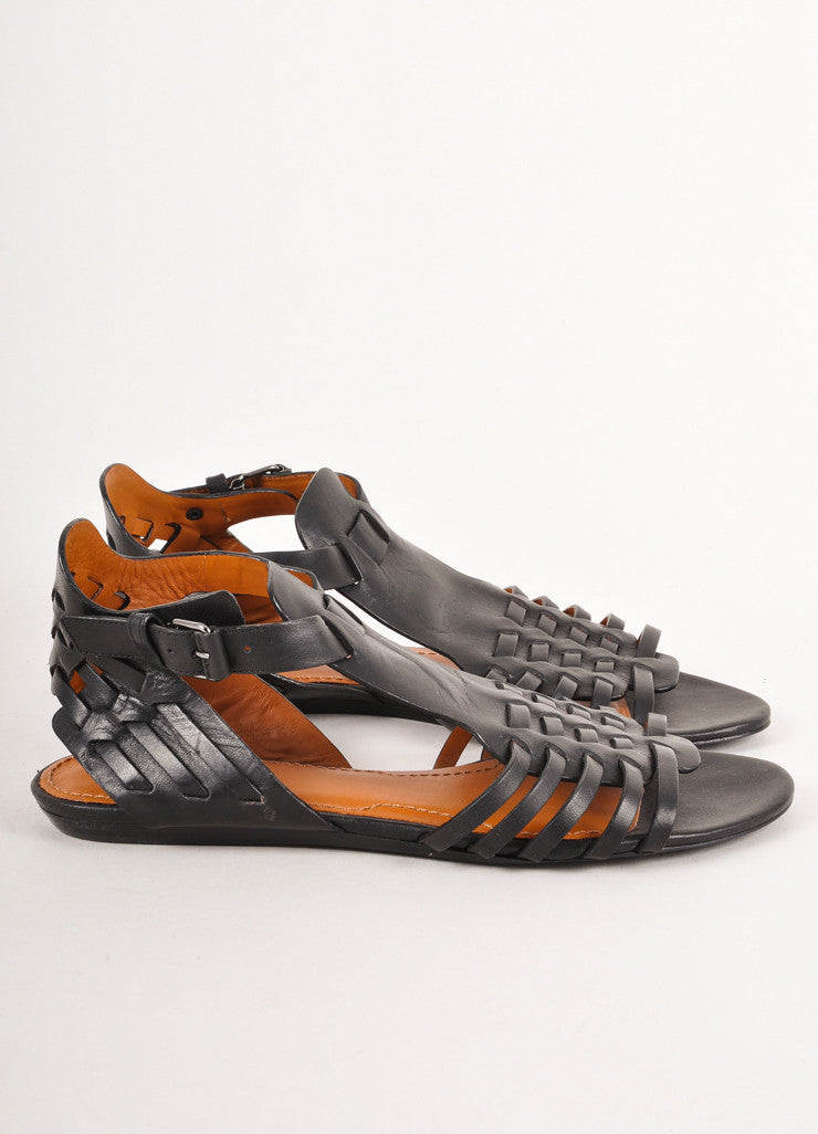 New Black Strappy Woven Leather Gladiator Sandals