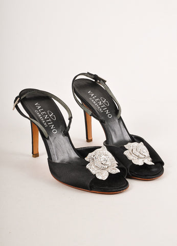 Black and Clear Rhinestone Embellished Rose Slingback Heels