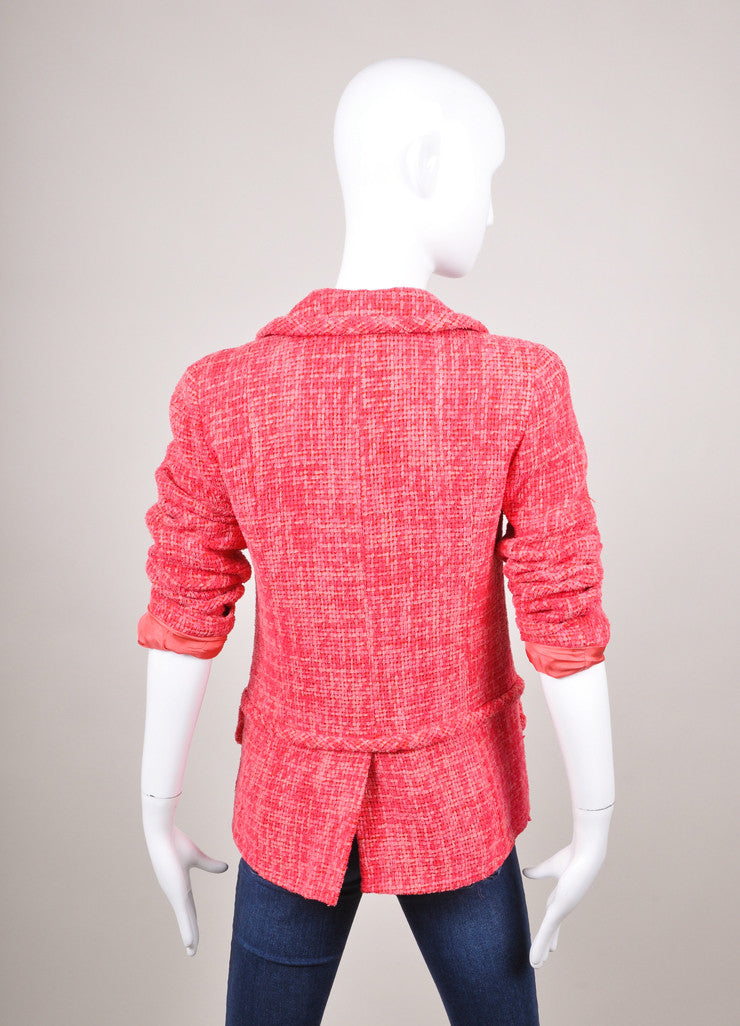 Pink Woven Four Pocket Collared Jacket