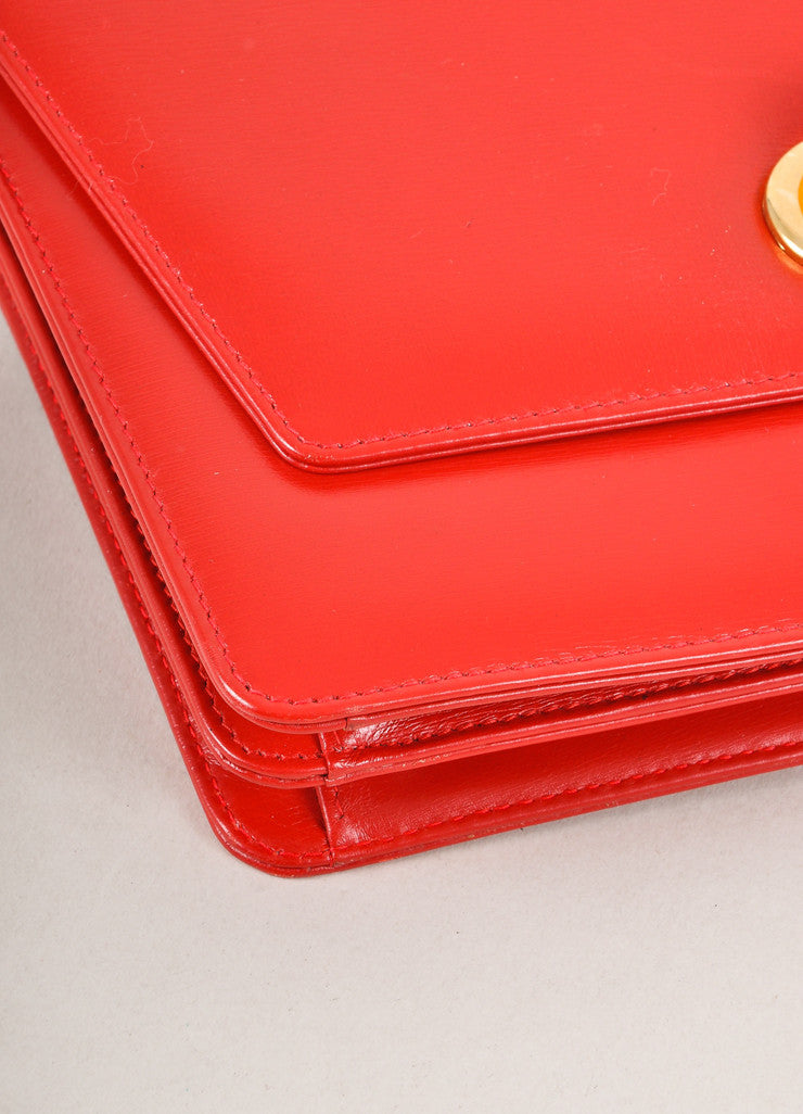 Red Leather Envelope Handbag With Lucite Details