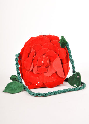 Green, Black, and Red Rhinestone Detail Rose Purse