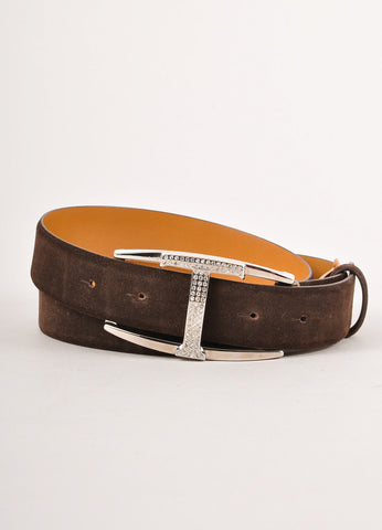 "Brown Suede Rhinestone Embellished ""T"" Belt"