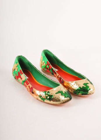 Green, Red, and Gold Sequin Round Toe Flats