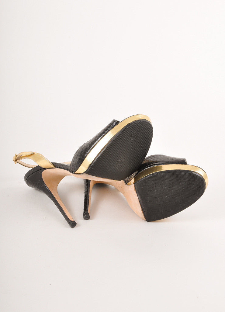 Black and Gold Snakeskin Leather Peep Toe Slingback Sandals