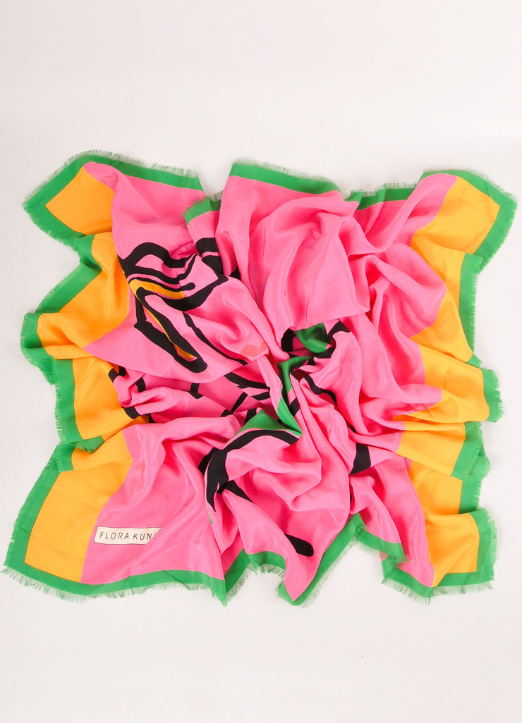 Pink, Green, and Gold Female Silhouette Square Scarf