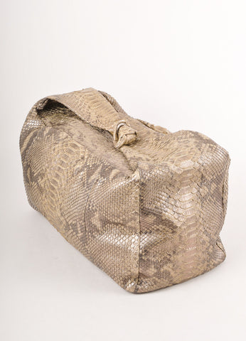 Grey and Gold Metallic Snakeskin Hobo Bag