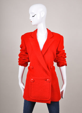 Red Fuzzy Knit Long Sleeve Double Breasted Jacket