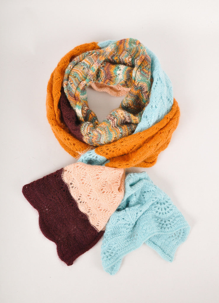 Multicolor Colorblock Soft Knit Scarf