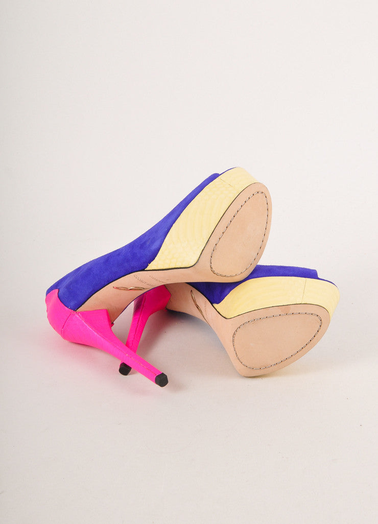 Neon Pink, Blue, and Beige Colorblock Peep Toe Platform Pumps