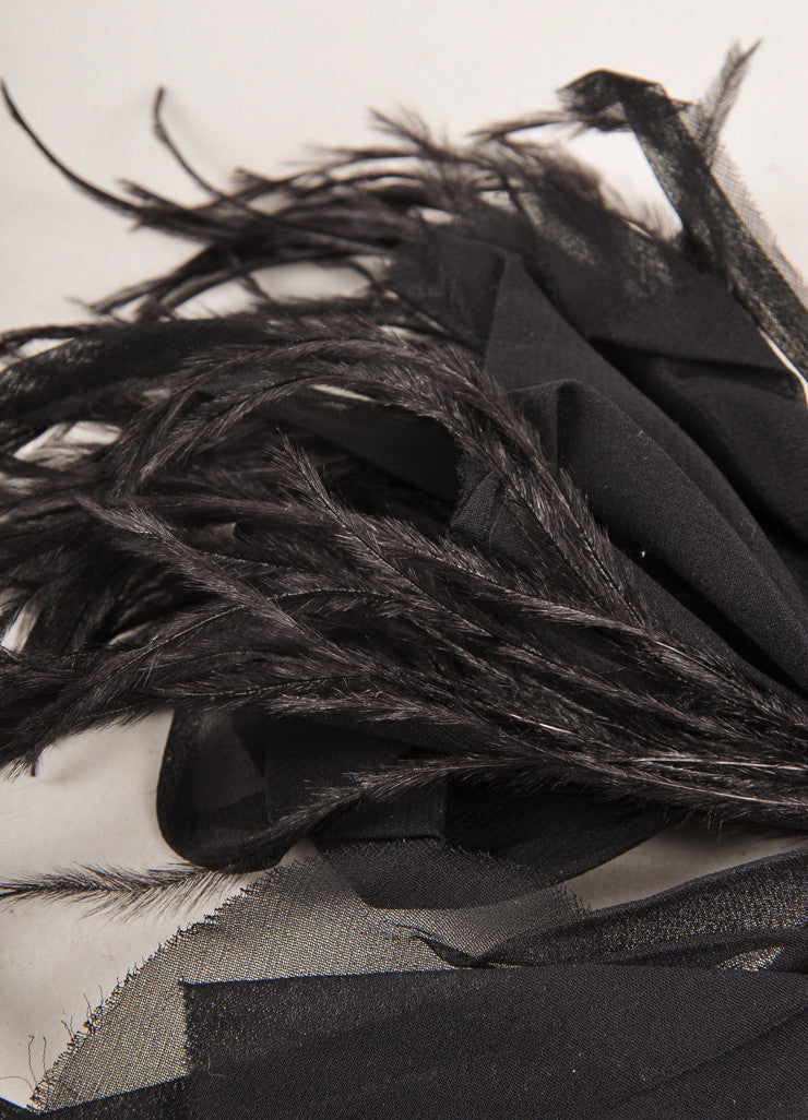 Black Large Feather and Chiffon Pin Brooch