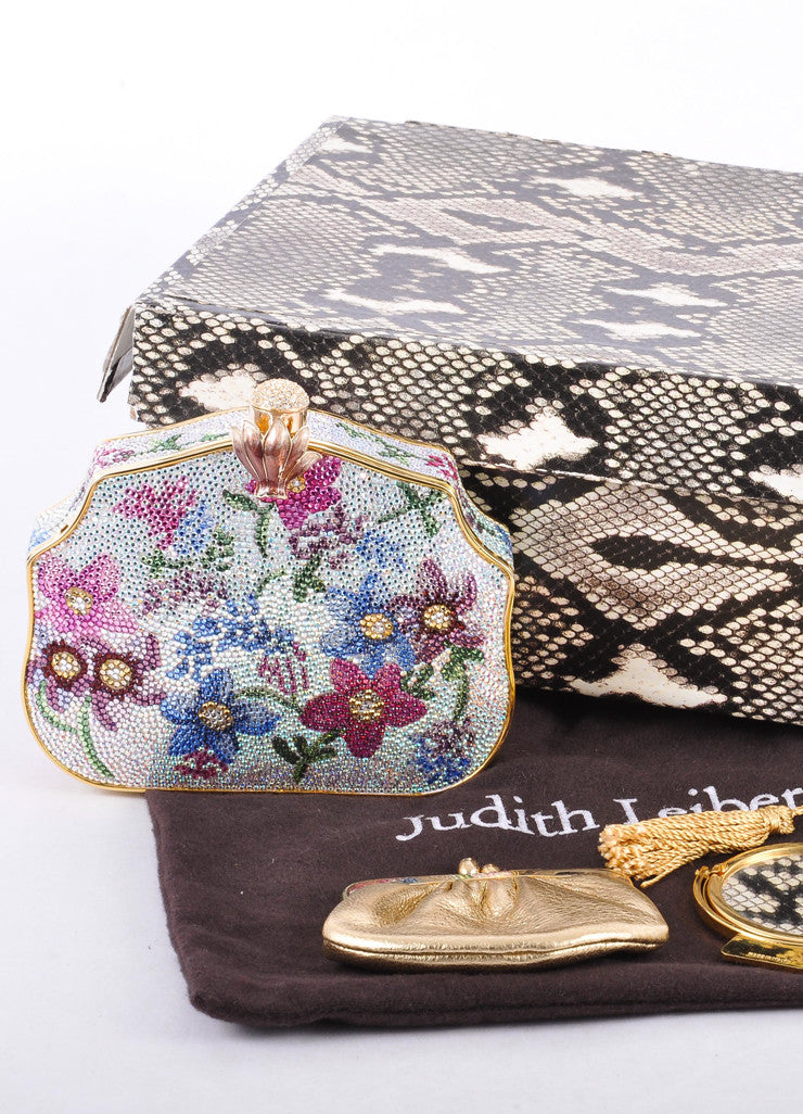 Multicolor Floral Rhinestone Embellished Minauderie Evening Bag