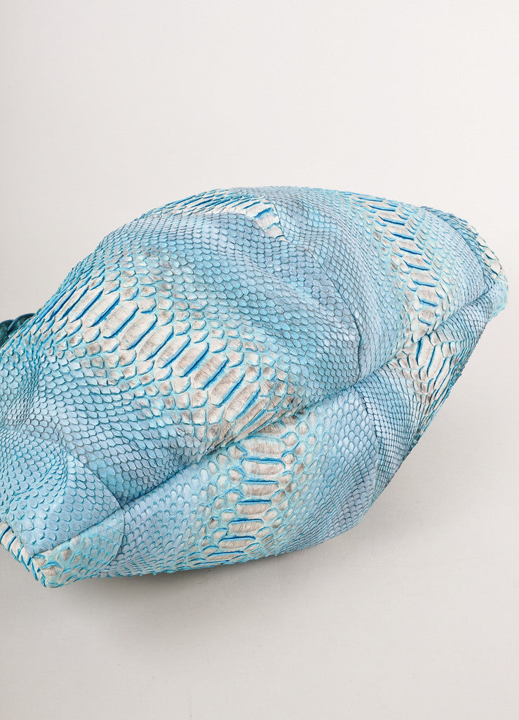 Blue and Cream Python and Crocodile Tote Bag