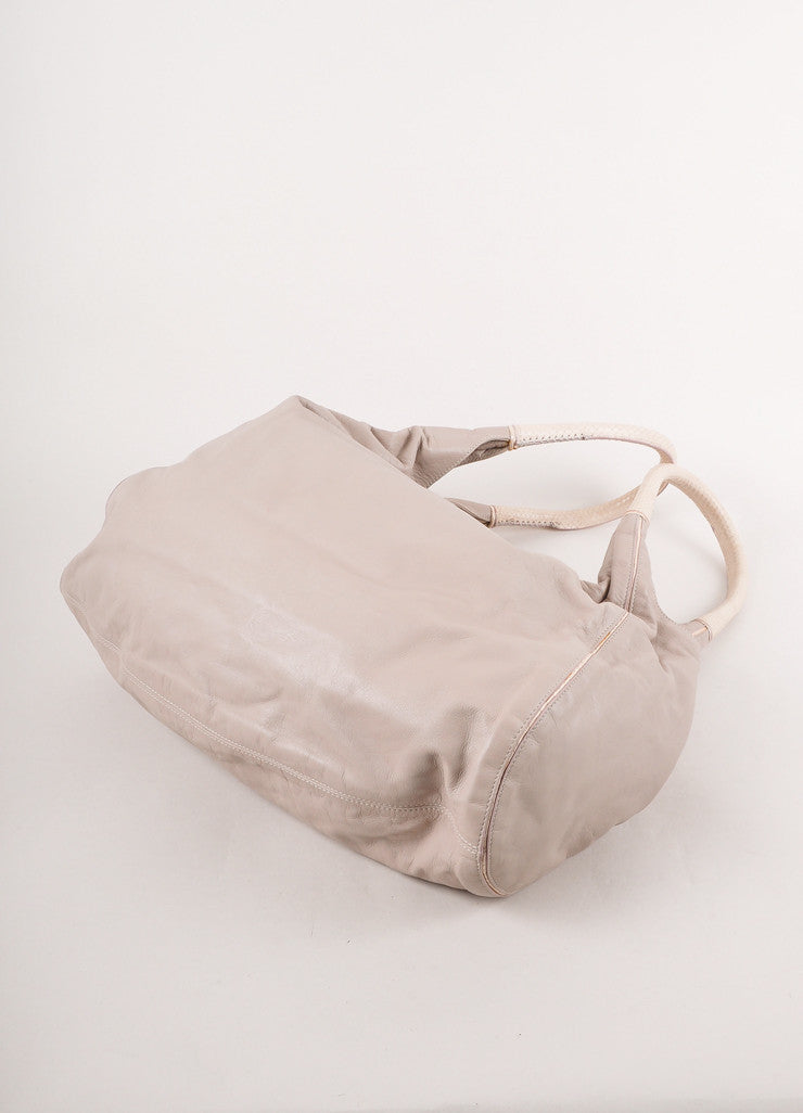 Pale Grey Lavender Leather Oversized Hobo Bag