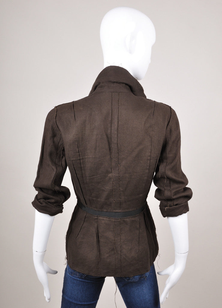 Black Unfinished Trim Woven Linen Jacket