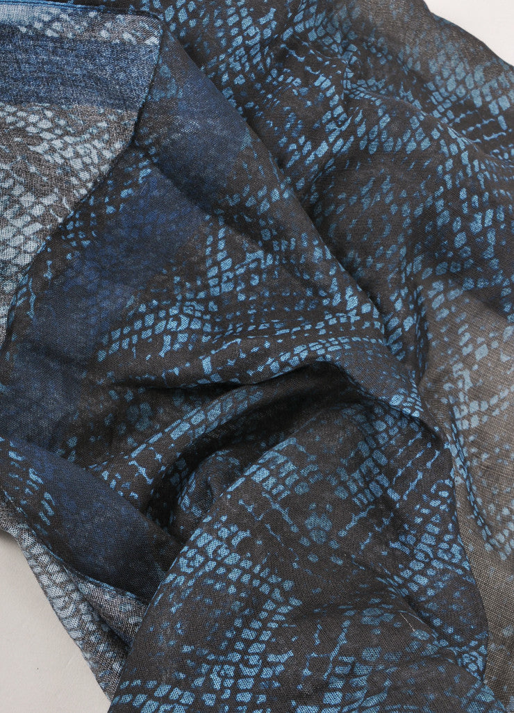 New With Tags Navy and Teal Snakeskin Print Semi Sheer Scarf