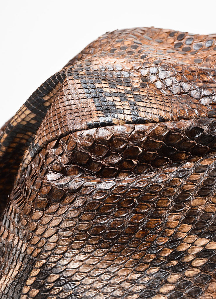 Brown Carlos Falchi Python and Crocodile Leather Gathered Oversized Hobo Bag
