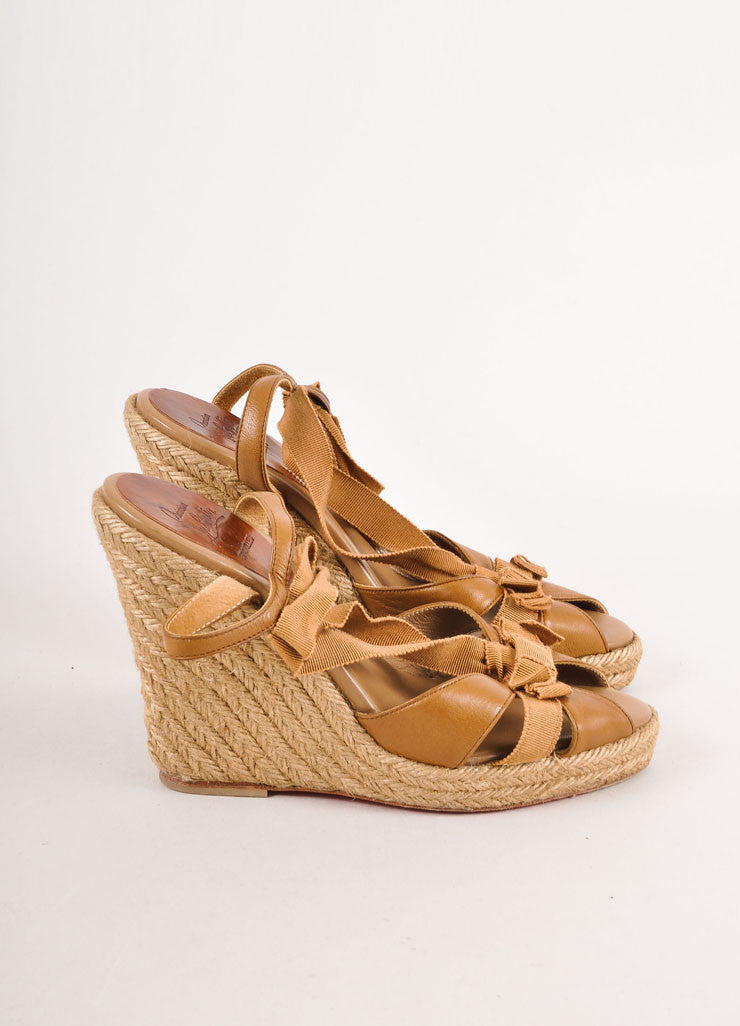 Brown Christian Louboutin Strappy Leather Ribbon Wedge Espadrille Sandals