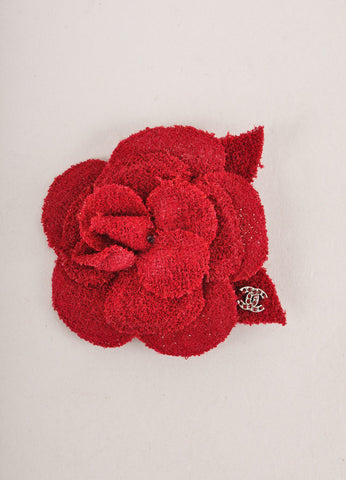 "Dark Red Tweed Camellia Pin Brooch With Embellished ""CC"" Detail"