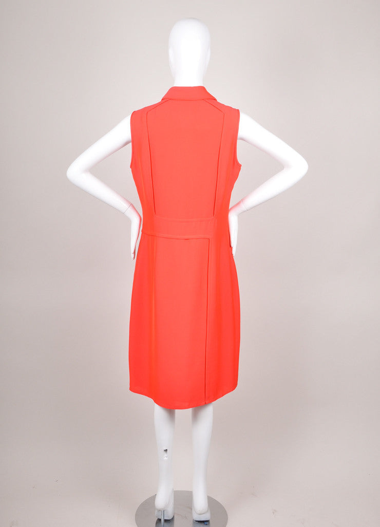 Coral Derek Lam Orange Eyelet Bib Sleeveless Dress